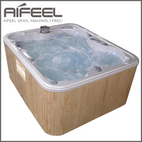 China manufacturer USA design outdoor spa balboa 3 person whirlpool balcony bathtub freestanding massage hot tub with one lounge