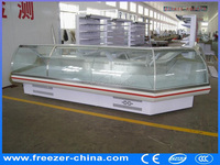 upright deli food serve showcase diaplay chiller meat industrial freezer for supermarket
