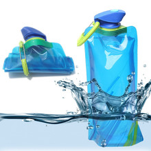 Hot Sale Blue Environmental Cartoon Foldable Water Bottle Bag Portable Kettle Outdoor Sports Travel Bottles Free Shipping CT102