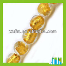 2013 china style handmade transparent round gold foil glass beads