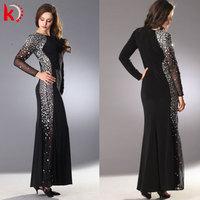 Long sleeve spandex cotton vintage long dresses for mother of bride