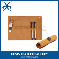 Top quality promotional leather material pencil case portable genuine leather pencil bag