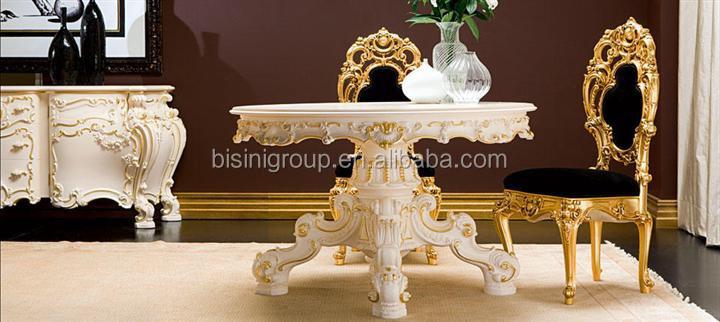 elegante weiße rokoko barock runde esstisch set mit blumen malerei, Esstisch ideennn