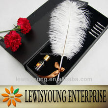 Nice feather Ostrich feather dip pen/ball pen for wedding gift items