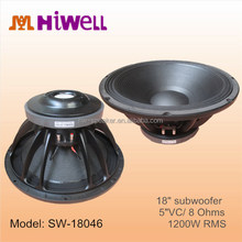"1200 Watts RMS imported Paper cone 18"" subwoofer speaker"