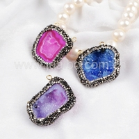 Synthetic diamond pave natural stone druzy geode quartz pendant with two top hoop