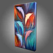 Beautiful Price Modern Decoration Handmade Dancing Dolphins Oil Painting On Canvas