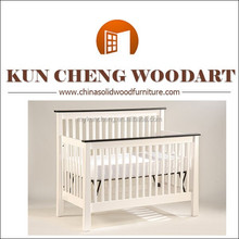 children bedroom furniture wood white Convertible Crib, baby toddler bed new style