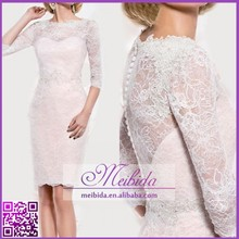 Guest Wedding Party Dress Knee Length 3/4 Sleeve Mother of the Bride Lace Dress Light Pink