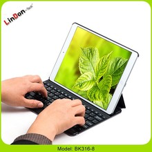 New PU Leather Keyboard Case for iPad 5, Slim ABS Wireless Keyboard Case with Stand BK316-8