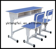 Wooden school double desks and chairs, student table writing desk