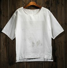 2015 fashion Men's linen short sleeve t shirt design your own KF5029