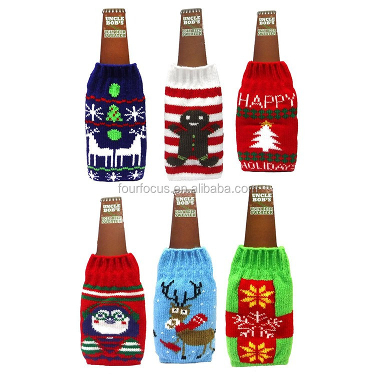 Christmas Decoration Festival Promotional Bottle Covers Knit Ugly Stunning Decorate Beer Bottles For Christmas
