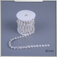 2015 china factory manufacturer metal weld crystal rhinestone cup chain wedding dresses