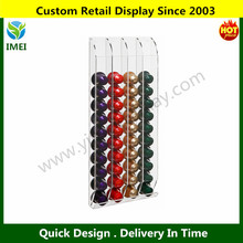 Designer Clear Acrylic Space Saving Wall Mounted 40 Nespresso Capsules / Coffee Pod Dispenser YM5-919