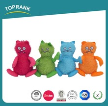 new design cute pet toys colorful crazy cats plush toy red blue orange green cats toy