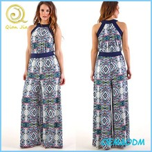 2015 Summer Multicolour printed wide leg jumpsuit long pants for ladies wear