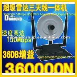High Power 360000G 3800mW 802.11g/b 54Mbps USB 2.0 WiFi Adapter