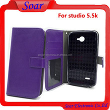 Magnetic Side Flip Stand Leather Case Cover for Blu studio 5.5k with Credit Card Slots, fancy new mobile phone cases