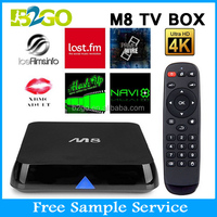 Promotional M8 tv box Kodi fully loaded quad core android tv box