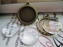 Condition: 100% new // These are perfect for necklace!!! Blank Settings Clear // Wholesale round 25mm Cabochon Setting