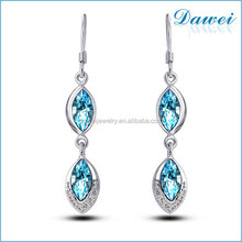 popular hot sale leaf crystal stud earrings