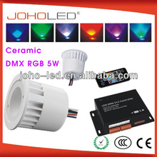 with synchronous and memory function ceramic body dmx remote controller led rgb bulb 3w 5w rgb led