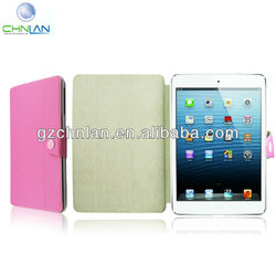 New arrival 3 fold protective smart cover for ipad mini pink leather cover for tablet