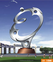 stainless steel modern art sculpture named tow a boat