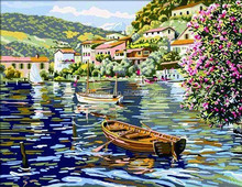 Floating Boats Digital Oil Painting