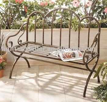Forjado de hierro festoneado banco de jard n sillas de for Banco de jardin de hierro y madera