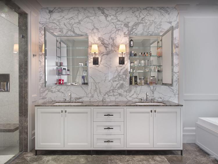 HOT SALE Wall Mounted Curio Rotating Mirror Shabby Chic Bathroom Cabinet