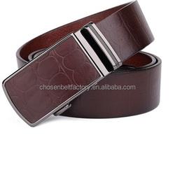 Guangzhou leather belt manufacturer custom made logo dye to match tan brown black color automatical buckle tool men belt