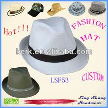 sombrero de Fedora con cinta de blanca tela , sombrero de vaquero, sombrero de paja, LSF53