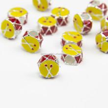 DIY bracelet accessories alloy drum large hole bead enamel yellow charm for necklace