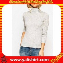 Hot selling top quality winter plain cheap long sleeve cashmere/nylon tight fit turtleneck girls sweater design
