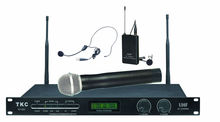 Microphone headset professional,TKC BT-820B UHF 2-Channels Wireless Microphone System,KTV Conference Lecture Use.Hanheld+Headset