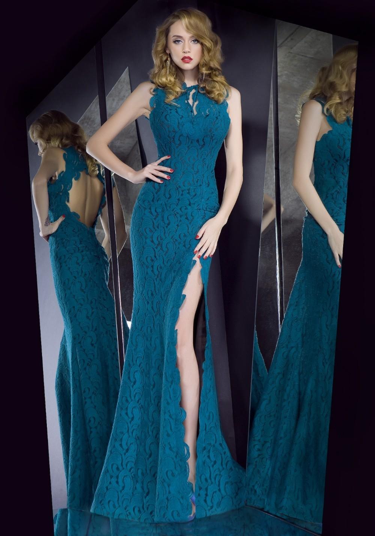 реальный пример elegent бирюзовый синий рукавов кружева вечерние платья Русалка платье женщины партия шифон
