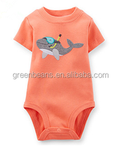 Hot sale shark cute baby romper orange cotton bodysuits organic infant clothing
