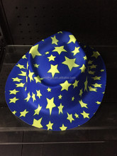 Hotsale High Luminant Bright color Plastic PVC Cheap cap fedora hat yellow star design Wholesale party favor for boys and girls