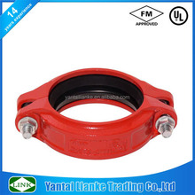 fm ul approved expoxy coated ductile iron grooved fitting flexible coupling