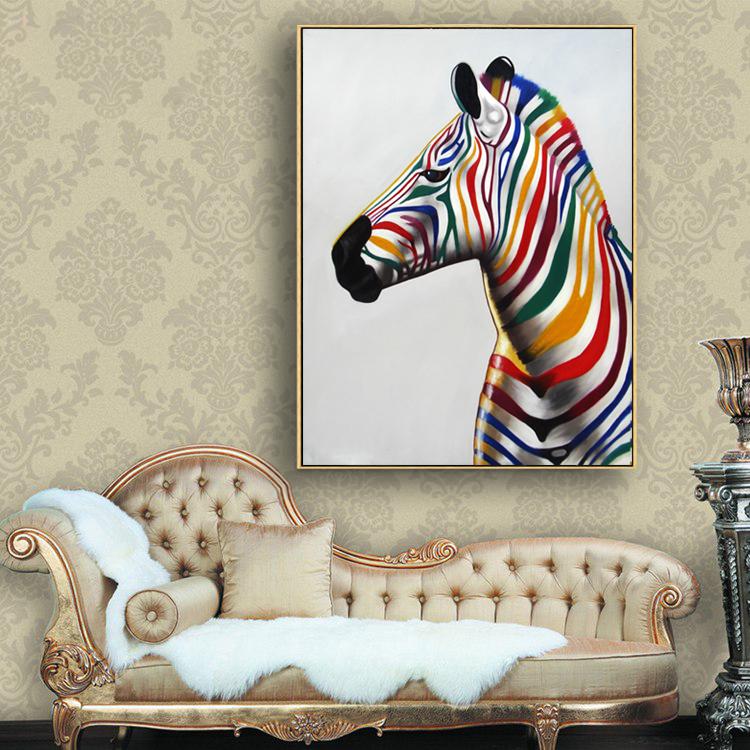 Schöne bunte zebra für wand kunst rahmen kunst replik malerei auf ...
