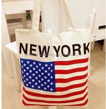 HOT! manufacturer custom NEW YORK printing cotton canvas shoppig bag plain cotton bags