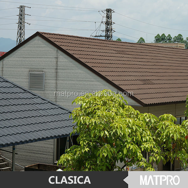 Flexible colorful stone coated metal roofing tile material for Flexible roofing material
