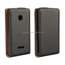 new design plain genuine pu leather flip mobile phone case cover for nokia lumia 435
