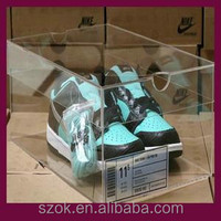 high quality transparent acrylic shoes display case with lids