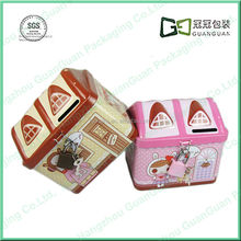 Funny metal coin storage box with lock and key for children