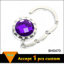Round Crystal Folding Purse Hook Fashion Foldable Bag Purse Hook
