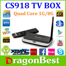 CS918 RK3188 Quad-core WiFi Google Android 4.4.2 TV Box Mini PC 1G 8G paypal escrow accepted