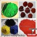 Couleur différente de poudre de pigment oxyde de fer rouge/jaune,/noir./brunetaille/oxyde de fer bleu formule chimique pour copeaux de bois